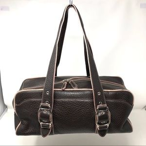 COLE HAAN Chocolate brown textured leather bag